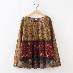 347a43dcc R$ 167.96 |Mori Menina Hippie Boho Bohemian Retro Vintage Floral Chemise  Femme Senhoras Soltas de Algodão de Manga Longa Tops Camisa Blusa Mulheres  ...