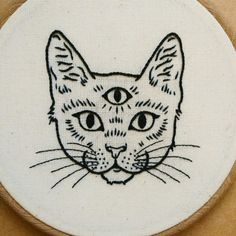 Three Eyed Cat Hand Embroidery Hoop Art embroidery wall