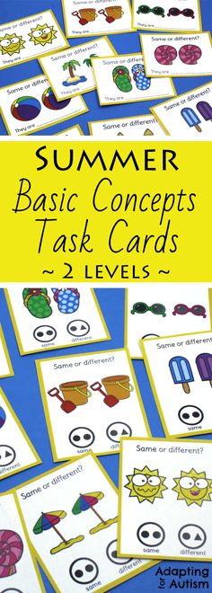 These clip cards are perfect to practice basic concepts in special education or speech therapy.  Also try these task cards as independent work during extended school year!