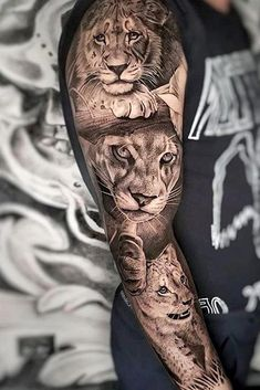 Lion family, son, wife and younger son. Father – the lion is depicted on the chest, heals. Then there will be a photo of a complete. Full Sleeve Tattoo Source by aestheticgotattoofactorys Family Sleeve Tattoo, Animal Sleeve Tattoo, Lion Tattoo Sleeves, Full Sleeve Tattoos, Tattoo Sleeve Designs, Lion Sleeve, Black And Grey Tattoos Sleeve, Lion Forearm Tattoos, Lion Head Tattoos