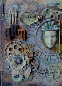 """My """"Crafty"""" Life on the Internet: Art Journal for A Vintage Journey using Tim Holtz/Ranger products; Mar 2014"""
