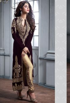 Wedding Suits Black designer Indian straight cut velvet suit with embroidered pants - Pakistani Dresses, Indian Dresses, Pakistani Suits, Punjabi Suits, Salwar Suits, Latest Wedding Suits, Designer Salwar Kameez, Designer Anarkali, Black Suit Wedding