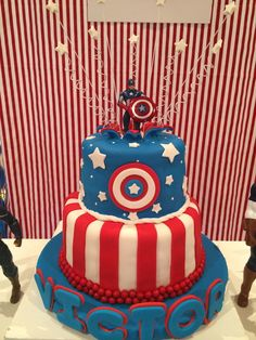 Captain America boy Birthday Party Cake! See more party ideas at CatchMyParty.com!