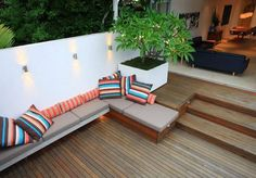 Contemporary Wooden Deck, Simple Lighting and Luxury Outdoor Furniture for Modern Patio Garden Design in Las Vegas