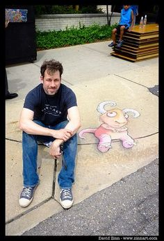 Live on Washington, Ann Arbor, Michigan (June 1, 2013) - , street art by David Zinn (himself)