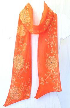 Hand Painted Silk Scarf Tangerine Tango by SilkCouturebyTakuyo, $74.50