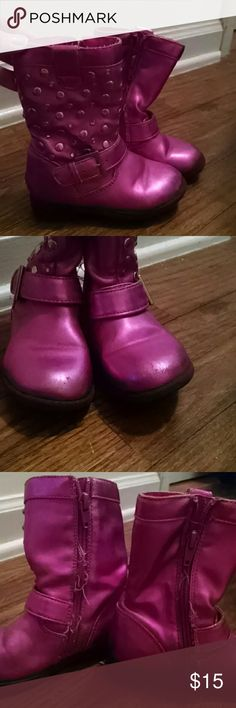 Pink boots! These were my daughter's favorite boots! She wore them with every thing. So you will see typical wear at the zipper where we have some lose threads and some scuffs on the toes. Great boots! Kenneth Cole Reaction Shoes Boots