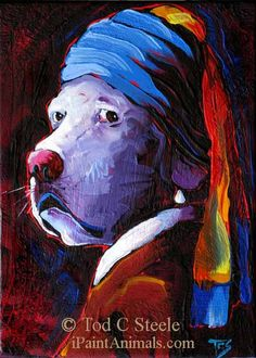 """Lab Painting - """"The Lab With the Pearl Earring"""" - Dog Art Print from Original Painting by Tod C Steele - 5x7"""""""