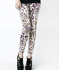 Take a look at this Purple Brushstroke Footless Tights - Women by r.bryant on #zulily today!
