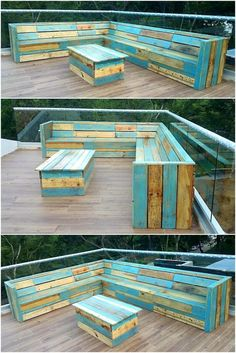 We have presented here another idea for the outdoor seating need; have a look at the attractively designed and painted upcycled wood pallet patio corner couch. The paint is used creatively due to which it is looking appealing and the idea is easy to copy because the design is simple. It is not necessary to copy the ideas as it is as the person can use the color combination according to his/her taste. There is also a table in the center because it is a full set which enables a person to enjoy…