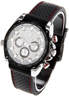 12 OFF + free shipping for Stylish Men's Mechanical Writst Watch with Wide Band - Black