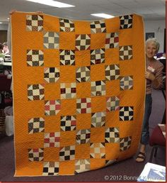 1897 Cheddar Shoo-Fly Quilt wide borders 35 patched blocks and 35 solid in configuration of 7 w x 10 L Primitive Quilts, Amish Quilts, Antique Quilts, Scrappy Quilts, Vintage Quilts, Vintage Fabrics, Orange Quilt, Yellow Quilts, Churn Dash Quilt