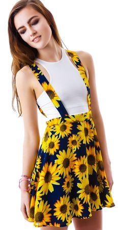 Moon Collection Sunflower Garden Suspender Skirt $45.00