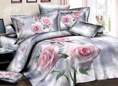Graceful Pretty Light Pink Roses Print 4-Piece Duvet Cover Sets on sale, Buy Retail Price Floral Bedding Sets at Beddinginn.com