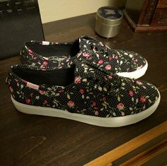 Adorable Floral Canvas Shoes Perfect for a girly addition to your wardrobe! Never worn! Rock Candy Shoes Sneakers