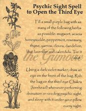 Psychic Sight Spell to OPEN THE THIRD EYE, Book of Shadows Spells Pages, Wicca