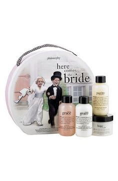 philosophy 'here comes the bride' set by Philosophy. $79.00. By philosophy. 'here comes the bride' features philosophy's best-selling skincare and fragrance, so she can walk down the aisle with a beautiful, radiant complexion while feeling amazingly clean and beautifully feminine on her special day. The set features 'purity made simple' one-step facial cleanser (2 oz.), 'hope in a jar' original formula moisturizer for all skin types (1 oz.), 'amazing grace' perfu...