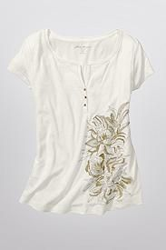 Sketched Embroidery Henley T-Shirt
