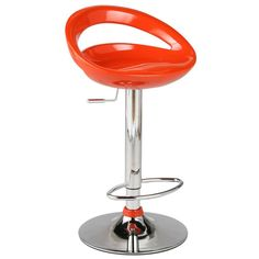 Agnes Adjustable Barstool -Orange Chrome