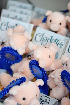 Project Nursery - Charlotte's Web Party Favors: Plush Wilbur and a copy of the book! Safari Birthday Party, Birthday Party Favors, First Birthday Parties, First Birthdays, 12th Birthday, Birthday Ideas, Cake Table Backdrop, Kitten Party, Charlottes Web