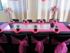 "table setup  Photo 2 of 24: pink, black and zebra! / Birthday ""Rockstar Diva Party"" 