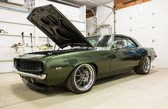 Feeling green with envy yet? Chris' incredible #protouring '69 #Camaro was built by Michigan's Dutchboys Hotrods and has been restored to the original 1969 Fathom Green color. It's powered by a 480HP Chevrolet Performance LS3 and rides on Detroit Speed suspension, C6 Corvette Z06 brakes, and 18x10/19x12 #Forgeline #GA3 wheels finished with Gunmetal centers & Polished outers! See more at: http://www.forgeline.com/customer_gallery_view.php?cvk=1739