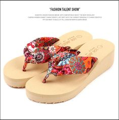 478fe5edfda38 Summer bohemia flower Women flip flops platform wedges Women s sandals  platform flip slippers beach shoes