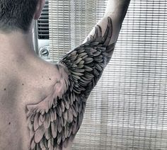 What does wing tattoo mean? We have wing tattoo ideas, designs, symbolism and we explain the meaning behind the tattoo. Full Arm Tattoos, Best Sleeve Tattoos, Body Art Tattoos, Tattoo Sleeves, Large Tattoos, Foot Tattoos, Flower Tattoos, Retro Tattoos, Trendy Tattoos