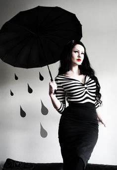 Through the Looking Glass: Striped goth pinup black parasol