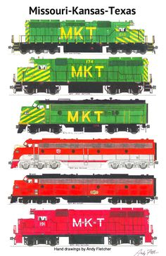 6 hand drawn MKT locomotive drawings by Andy Fletcher
