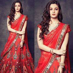 Alia Bhatt Looking Cute in Red Saree Bollywood Celebrities, Bollywood Actress, Bollywood News, Alia And Varun, Beautiful Red Dresses, Indian Lehenga, Lehenga Designs, Alia Bhatt, Dress Images