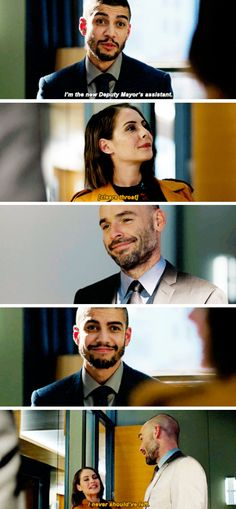 """""""I'm the new Deputy Mayor's assistant"""" - Rene, Quentin and Thea #Arrow"""