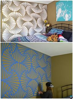 12 diy patterned wall painting ideas and techniques - Diy Bedroom Painting Ideas