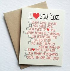 You could DIY! I love you card with funny list - romantic valentines day card with list of reasons - anniversary card for him for her