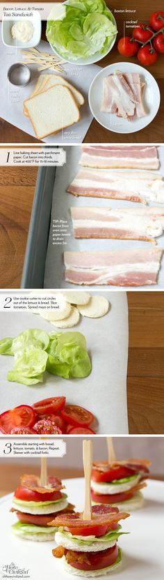 BLT tea sandwiches, finger food, party food. INGREDIENTS (cut into circles): Bacon, bread, tomatoes, lettuce, mayo. (skewer and serve) These were a little time consuming but soooo good!! I didnt have a cookie cutter so I used the top of a tiny wine glass, worked perfectly!! Everyone loved them too, great app!! | Look around!