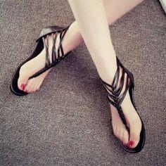 $9 Stylish Women's Flip-Flop Sandals With Zip and Knitting Design (BLACK,37)   Sammydress.com Mobile