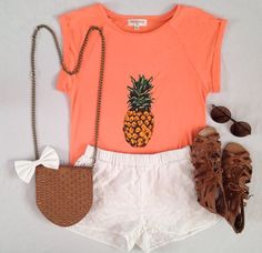 Cute white shorts with coral pineapple print tee and brown stripes leather sandals and hand bag and goggles the cute summer outfits