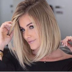 bob hairstyles with blonde highlights 2017 Blonde Balayage blonde Bob Hairstyles Highlights Straight Bob Haircut, Bob Haircut For Fine Hair, Bob Hairstyles For Fine Hair, Long Bob Haircuts, Haircuts For Fine Hair, Lob Hairstyle, Haircut And Color, Hairstyles 2018, Haircut Medium