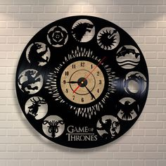Game Of Thrones Winter is Coming Birthday Party Wall Nursery Vinyl Record Clock #VinylEvolution #Modern