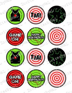 Laser Tag Cupcake Toppers Printable File Instant by InvitesByMaL