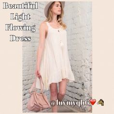 HP 6/15 Lace Dress! Find bag at @twinkletoestoni Beautiful  Laced Detailed Back Light Flowing Dress. Loose fit. Sizes Avaliable 1 Sm, 1 Med, 1 Lg. Color: Cream. 100% Rayon The adorable bag is not included. But You can find it in @twinkletoestoni closet! Dresses