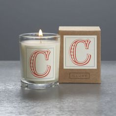 Monogram C Boxed Votive. Can order any letter. Fab hostess gift.