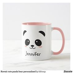 Kawaii cute panda bear personalized MugThanks zazzle for this post.Panda bear personalized mug. Trendy kawaii style fun illustration of a panda bear face. Lovely gift for anyone who likes panda bears or animals in general. You can change the # bear Panda Day, Panda Love, Cute Panda, Cute Coffee Mugs, Cute Mugs, Coffee Cup, Panda Mignon, Panda Lindo, Tassen Design