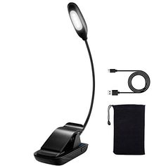 Clip on Reading Light, Atmoko LED Reading Lamp, USB Rechargeable, Eye Protection Brightness, Mini Book Light (Cool White) with Portable Bag for Bed Reading, Kindle, Computer, Travel.