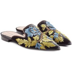 Alberta Ferretti Embroidered Velvet Mules (€750) ❤ liked on Polyvore featuring shoes, multicolor, pointed toe shoes, pointed toe mules, pointy toe mules, short heel shoes and mule shoes