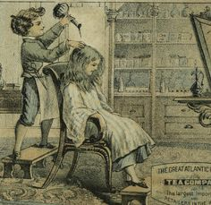 Hair Salon Barber Dyeing A&P Great Atlantic & Pacific Tea Victorian Trade Card #GreatAtlanticPacificTeaCo