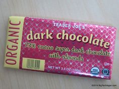 Organic 73% Cacao Super Dark Chocolate Bar with Almonds