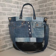 Denim tote bag of distressed jeans. Market bag from distressed leather. Unisex large bag of recycled jeans. Hobo large bag of jeans and leather. Inside the bag is lining with two open pockets and one zip pocket. Denim Tote Bags, Denim Handbags, Diy Tote Bag, Japanese Knot Bag, Clothespin Bag, Hipster Bag, Recycled Denim, Market Bag, Casual Bags