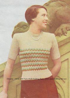 free 1950s knitting pattern vintage