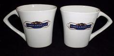 Ghirardelli Blue & Gold Colored Writing - White Oval Shaped Coffee Mug SET of 2